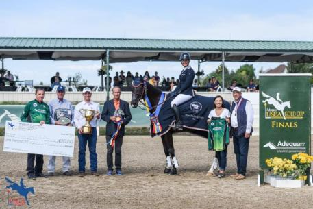 Tamra Smith and Mai Baum in their awards presentation ceremony with  Allyn Mann (Adequan®), John Staples (USEA Board of Governor), Rob Burk (USEA CEO), Mike Huber (USEF Representative), Alexandra Ahearn and Eric Markell (Mai Baum's owners) ©USEA/LeslieMintz