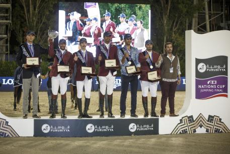 eam Qatar, winners of tonight's Longines Challenge Cup at the Furusiyya FEI Nations Cup™ Jumping Final 2015 in Barcelona, Spain: (L to R) Chef d'Equipe Willem Meeus, Ali Yousef Al Rumaihi, Khalid Mohammedd Al Emadi, Sheikh Ali Bin Khalid Al Thani, Hamad All Mohamed Al Attiyah and Bassem Hassan Mohammed