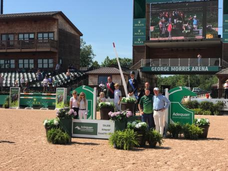 Todd Minikus at award ceremony for finish on Incitatus in the $86,000 Adequan® Grand Prix FEI CSI2*