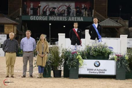 Sharn Wordley and Conor Swail in their presentation ceremony alongside Steve Gordon of BMW, and Mark & Katherine Bellissimo of Tryon Equestrian Partners (TEP).