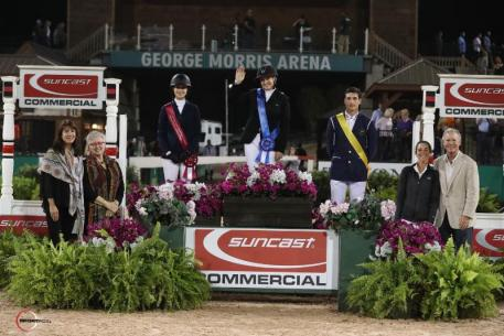 Marilyn Little, Eve Jobs, and Nicola Philippaerts in their presentation ceremony with Jennifer Smith of Tryon Equestrian Partners, Sharon Decker, COO of Tryon Resort & TIEC, Lauren Tisbo of Suncast®, and Roger Smith of Tryon Equestrian Partners.
