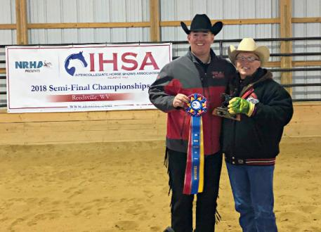 Tyler Kirby from Ohio State University won the Individual Reining at the Semi-Finals hosted by West Virginia University. Kirby is pictured with Ohio State University coach Ollie Griffith.