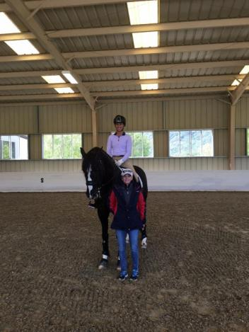 USEF Developing Dressage Coach Debbie McDonald with Genay Vaughn and Donarweiss GGF