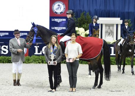 Victoria Colvin and Cafino in their winning presentation with ringmaster John Franzreb, WIHS President Victoria Lowell, and WIHS Executive Director Bridget Love Meehan