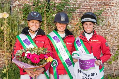 The victorious German team at Waregem (BEL), the eighth and penultimate leg of the 2016 FEI Nations Cup™ Eventing. L-R Leonie Kuhlmann (Cascora), Stephanie Böhe (Haytom), Franziska Keinki (Lancaster 149) (Eventing Photo/FEI)