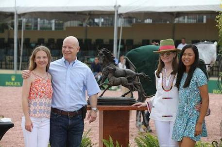 Sophie, David, Becky, and Mimi Gochman accept the Jay Matter Memorial Trophy for their horse Catch Me that earned the most points in the High Performance Hunters. They were also presented the award for Lugano Diamonds Leading Hunter Owner.
