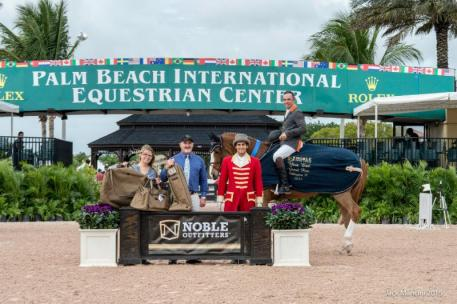 Wilhelm Genn and Bugatti in their presentation ceremony with ringmaster Christian Moreno alongside Noble Outfitters District Sales Manager and Regional Sales Director Tony Lott