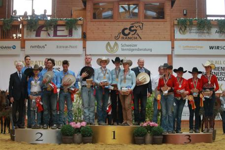 The Young Riders podium at the 2016 SVAG FEI European Reining Championships for Young Riders and Juniors – Germany in gold, Italy in silver and Belgium in bronze (FEI/ Andrea Bonaga)
