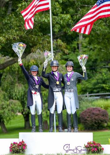 USDF North American Young Rider Individual Championship medalists: Beatrice Boucher (left), Callie Jones (center), and Kayla Kadlubek (right)