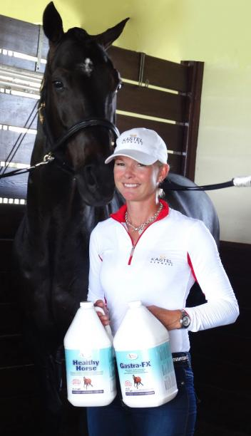 Grand Prix champion dressage rider Katherine Bateson-Chandler with some of her favorite Omega Alpha equine health products