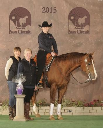 Overall Champion at the Sun Circuit show in January was Briana Bartlett and her horse Chromed Tejon. Standing with her are her Mother Kathleen Beck Tischler, and Lisa Coulter the President of WPR. Pa