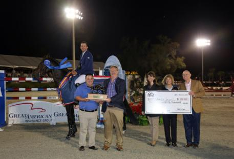 Great American Insurance representatives, including President of the Equine Division Ken Standlee, present Charlie Jayne and Chill R Z with a check for $350,000 after winning the 2015 Great American  Million Grand Prix at HITS Ocala. (C) ESI Photography