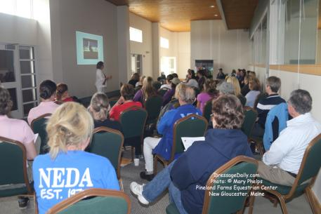 Terry Ciotti Gallo captivates participants durong Dressage Musical Freestyle Program at Pineland Farms packed with information and tools for judging and developing a Dressage Freestyle