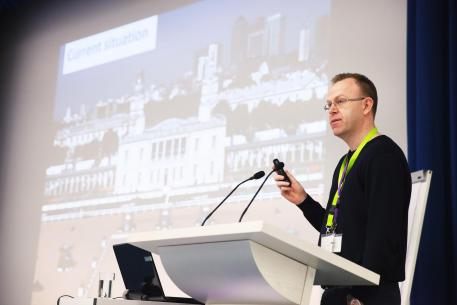 Craig Spence, the International Paralympic Committee's Director of Media & Communications, tackled the future of Para-Equestrian Dressage within the Paralympic Movement at the FEI's first Para-Equestrian Forum on 21-22 March in Essen, Germany. (Amanda Berens/FEI).