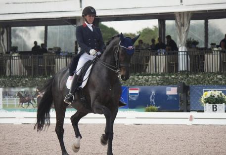 Kasey Perry riding Danish Warmblood Goerklintgaards Dublet for USA's Team 2 during Nation's Cup at the 2015 AGDF