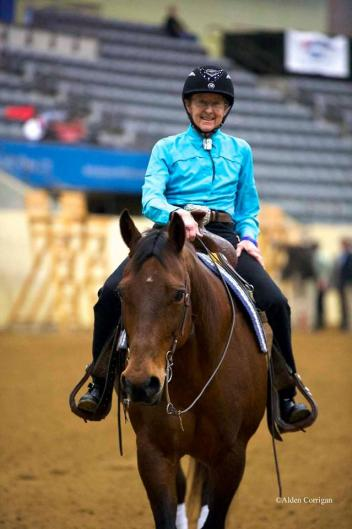 Dale Dedrick riding Bodi in Kentucky Reining Cups para-reining class
