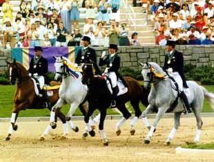 The USET Dressage Olymoic Bronze Medal Team - Steffen Peters and Udon, Robert Dover and Metallic, Michelle Gibson and Peron, and Guenter Seidel and Graf George
