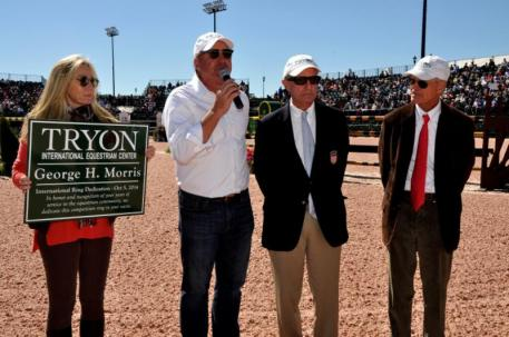 Katherine Bellissimo, Mark Bellissimo, George Morris, and Roger Smith at the dedication ceremony.