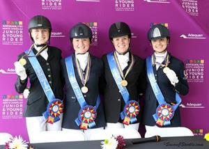 Dressage Junior Team Gold medalists from Canada-Ontario - Vanessa Creech-Terauds, Yanina Woywitka, Georgia Wade, and Alexandra Meghji (Photo: SusanJStickle.com)