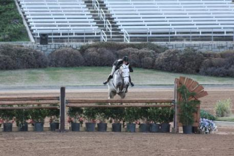 Elizabeth Boyd and Sterling won Friday's 0,000 USHJA International Hunter Derby in the Olympic Arena at the Georgia International Horse Park.