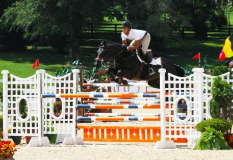 Emanuel Andrade and Black Pearl who took second in Andrade's sweep of the 1.30m Jumpers