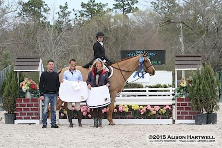 Emily Hertz and David Pellegrini's Outspoken won Week III's $2,500 USHJA Hunter Derby, presented by Tucci