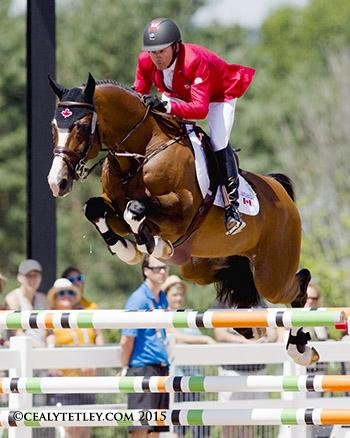 Eric Lamaze and Coco Bongo, owned by Artisan Farms LLC, thrilled the home crowd by jumping clear in the second round to secure Canada's 2016 Rio Olympic qualification. Photo © Cealy Tetley - www.tetleyphoto.com