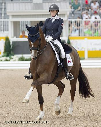 Brittany Fraser of New Glasgow, NS, is currently ranked second individually with All In in dressage competition at the 2015 Pan American Games. (Photo©: Cealy Tetley - www.tetleyphoto.com)