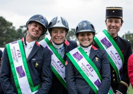 The French team repeated their feat of 2014 when they also won on home soil, and enjoyed a comfortable victory at the opening leg of FEI Nations Cup™ Eventing 2015 in Fontainebleau. Left to right: Karim Florent Laghouag (FRA), Helene Vattier (FRA), Gwendolen Fer (FRA) and Arnaud Boiteau (FRA).
