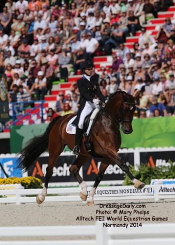 USA's Laura Graves and Verdades - (KWPN / Bay / 2002 / G / by Florett AS and Liwilarda by Goya) - Laura Graves - 5th Place in the Grand Prix Dressage Freestyle at the Alltech/FEI World Equestrian Games Normandy 2014