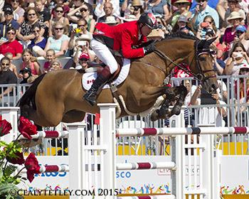 Ian Millar of Perth, ON, was clear in his record tenth Pan American Games appearance riding Dixson, owned by Susan and Ariel Grange. (Photo: © Cealy Tetley)