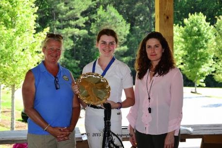 Isabelle Braden is the High Point Champion of the Dressage4Kids 2015 Atlanta Youth Dressage Festival and is awarded by Custom Saddlery. From left to right: Liz Molloy, the Youth Chair of Georgia Dressage and Combined Training Association; Isabelle Braden, and judge Danielle Perry (Photo: Marc Mesa)