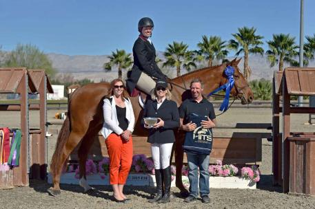 Jamie Taylor and Julie Hancock's Willow CFB won the blue ribbon in the 0,000 Devoucoux Hunter Prix Sunday, February 1, 2015 at HITS Thermal. (c) ESI Photography