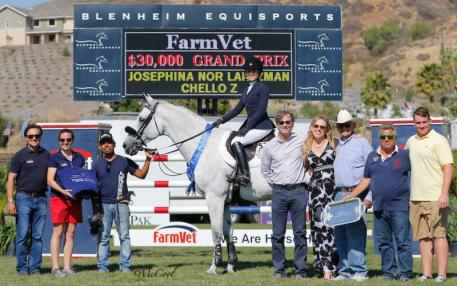 Josephina Nor Lantzman and Chello Z pictured with representatives from FarmVet, Robert Ridland and Melissa Brandes of Blenheim EquiSports, friends and family. Photo by McCool