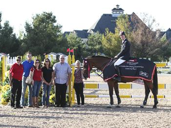 Ian Millar and Star Power are presented as the winners of the $35,000 CSI Caledon Cup, Phase I, presented by Peel Maryborough and Aviva Insurance. Photo by Ben Radvanyi Photography