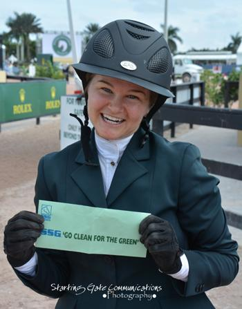 "Kelsey Thatcher of Bluffdale, Utah, proudly displays her ,000 bonus from SSG Gloves in its ""Go Clean for the Green"" promotion. Photo by Starting Gate Communications"