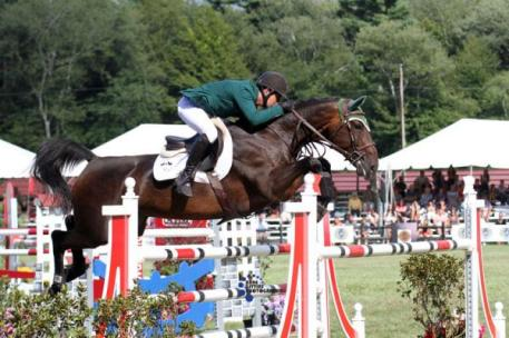 Kevin Babington and Shorapur, winners of the $75,000 Agero Grand Prix. Photo by Anne Gittins
