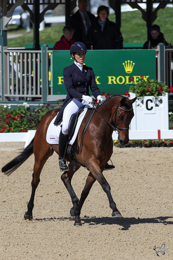 Laine Ashker of the United States rode Anthony Patch to second place (44.2) in the first day of dressage at the Rolex Kentucky Three-Day Event. (Photo: Ben Radvani)