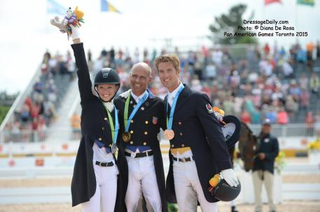 Laura Graves (USA) Silver, Steffen Peters (USA) Gold, and Christopher Von Martels (CAN) Bronze individual medals at the Pan American Games, Toronto 2015 Photo: © Diana De Rosa