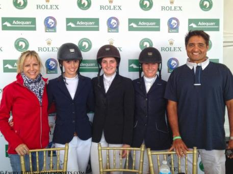 Laurie and Timmy Sharma of Equine Couture and TuffRider with the top three finishers, Nicole Bellissimo, Kelli Cruciotti and Sydney Shulman.