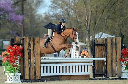 Lena Rae Reeb and Private Ryan, owned by Jamie Ringel, jump victoriously in the ,500 Platinum Performance Hunter Prix at the Commonwealth National April 18, 2015 at HITS Commonwealth Park in Culpeper, Virginia. (c) ESI Photography