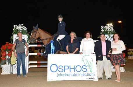 Lucy Davis and Old Oak Farm's Barron get the blue ribbon in the $50,000 HITS Grand Prix CSI-W2*, presented by OSPHOS® Saturday, February 7, 2015 at HITS Thermal. (c) ESI Photography