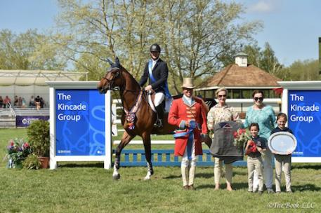 Mclain Ward and HH Azur in their winner's presentation with Ringmaster Alan Keeley, USEF President Chrystine Tauber, Barbara Hakim of Old Salem Farm and family. Photo by The Book, LLC