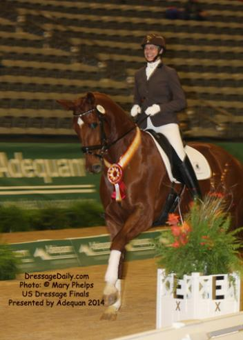 Victory lap for Viki Meyers and Gold Rush  at the US Dresge Finals 2014