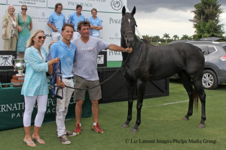 Mimi Gracida, Wesley Finlayson, Juan Bollini and Best Playing Pony Prada, owned by Halo Polo. (Photo: Liz Lamont Images)