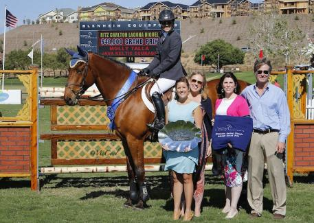 Molly Talla and Java Keltic Courage, pictured with The Ritz-Carlton, Laguna Niguel's Carrie Borg and Christy Patterson (front), and Melissa Brandes and Robert Ridland of Blenheim EquiSports. Photo by McCool Photography