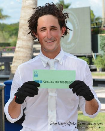 Nick Dello Joio proudly displays his $3,000 SSG Gloves bonus. (Photo:Starting Gate Communications)
