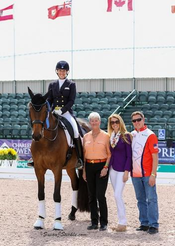 "Olivia and ""Lono"" with judge Lilo Fore, PJ Rizvi of Peacock Ridge, and Allyn Mann of Adequan®. Photo: SusanJStickle.com"