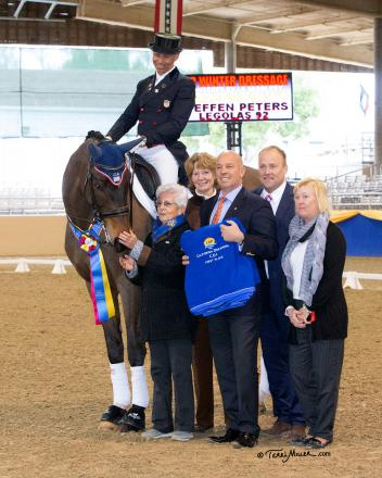 Steffen Peters & Legolas 92 accept congratulations from the ground jury for their big win in the Grand Prix Freestyle at the Mid-Winter Dressage CDI-W. (Photo by Terri Miller)