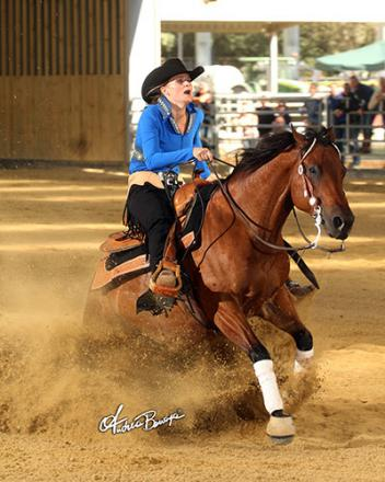 Petra Van Ede riding Spook So Fly for owners De Bruin Reining Horses (Photo: Andrea Bonaga)